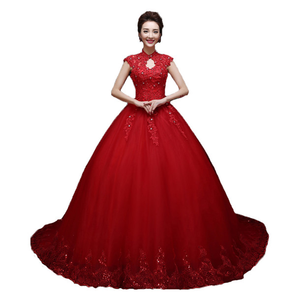 Fashion Red Wedding Dresses Ball Gown High Neck Wedding Gowns 2018 Cap Sleeves Applique Lace Beaded Corset Lace Up Formal Chapel Bridal Gown