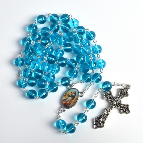 Round Glass Beads Fashionable Rosary Necklaces Catholicism Immaculate Conception Center