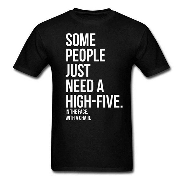 Hipster T Shirts Men'S Five In Face With Chair O-Neck Short Sleeve Regular Tee Shirt