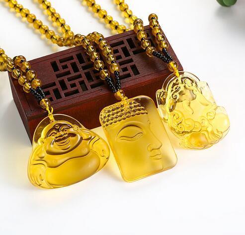 Pendentif Collier Bouddha Pendentifs Fine Bijoux Femmes Hommes Jaune Cristal Haute Qualité Pierre Naturelle Sculptée