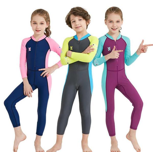 Wholesale 2018 Lycra Wetsuit For Kids Boys Girls Diving Suit Full Swimsuit Long Sleeve Swimwear Wetsuits For Children Rashguard