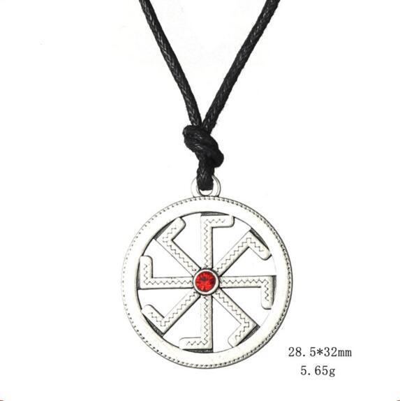 Slavic Paganism Kolovrat Pendant Necklaces Vintage Antique Solstice Sun With Crystal Wheel Charm Talisman Wicca Jewelry Adjustable