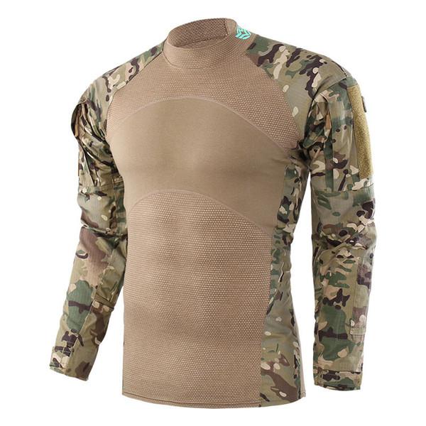 Men's Slim Fit Combat Rapid Assault Shirt Tactical Airsoft Paintball Camo Long Sleeve Shirts Sports Tops