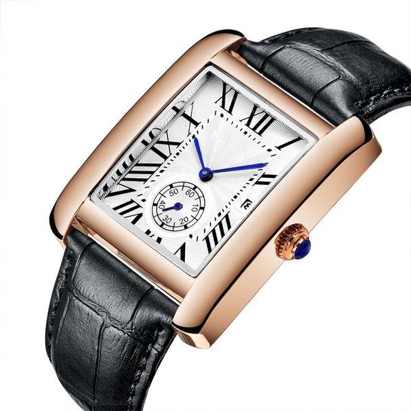 Новый 2019 Женева Модный Бизнес Простой мужской Кожаный Ремешок Двойные Часы Высок