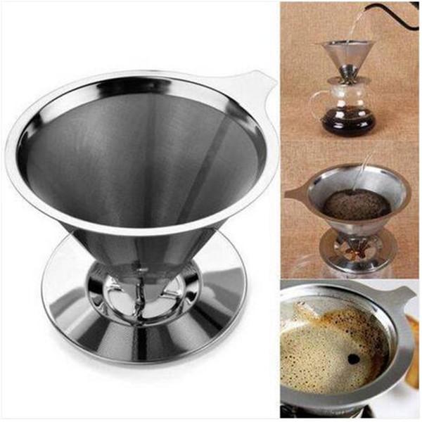 Cestas de filtro de café reutilizables de acero inoxidable Colador de malla vierte sobre soporte de café titular de goteo Herramientas de té de café