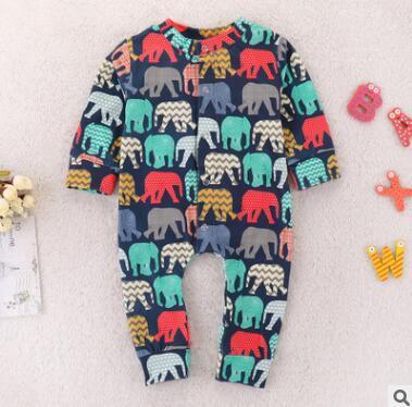 Pagliaccetto del bambino Onesie 2019 Primavera Autunno manica lunga Cartoon Animal Elephant Stampato pagliaccetto di cotone tuta infantile Toddler Costume vestiti del bambino