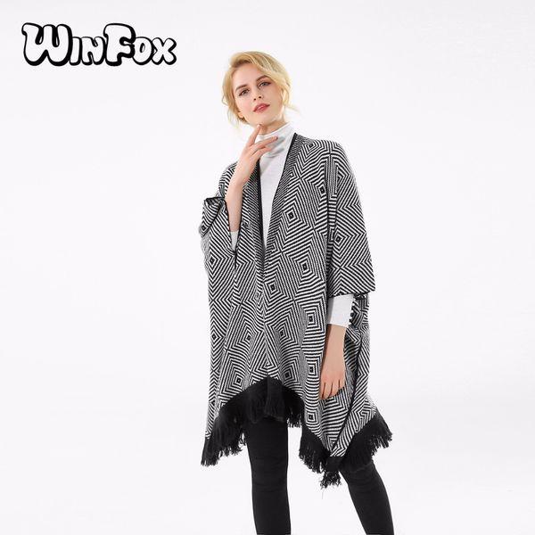 Winfox 2017 Nouvelle Marque De Mode Hiver Noir Blanc À Carreaux Rayé Pashmina Ouvert Avant Poncho Écharpe Pour Femmes Dames