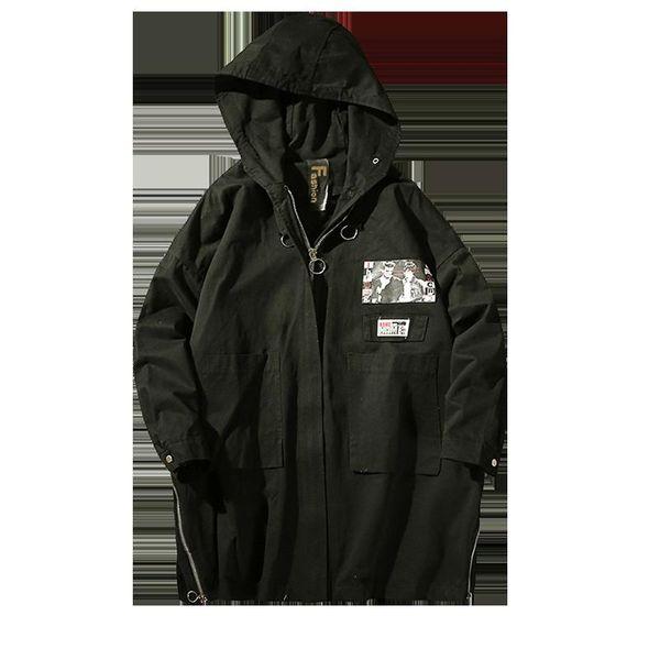 Dropshipping 2018 Hip Pop Camo Giacche cappotto uomo Nuovo Trench Coat Uomini Marchio di abbigliamento Top qualità maschile lungo trincea nera