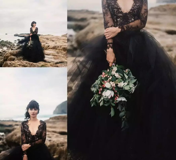 Black Bohemia Wedding Dresses Backless Puffy Tulle Summer Boho Wedding Party Bridal Gowns with Illusion Lace Long Sleeves Wedding Gowns