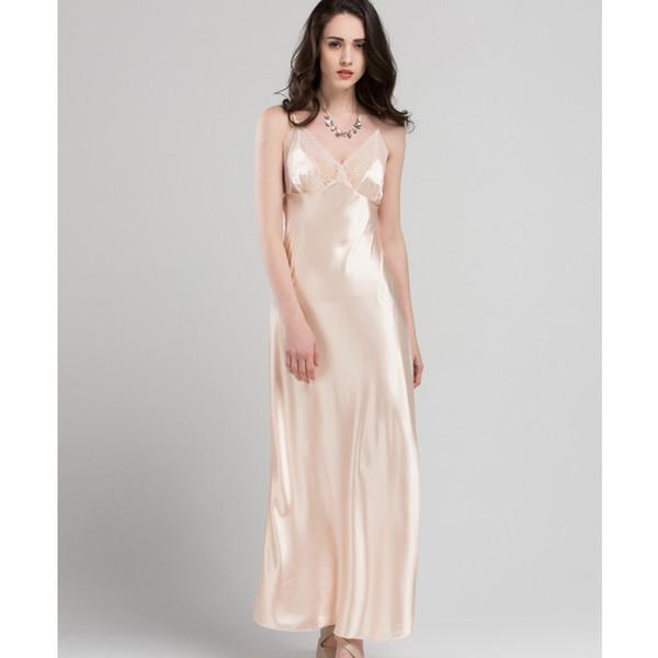 6aa71a8da206 Lace Sexy Sling Sleeping Dress Satin Silk Sleepwear Women Faux Silk Long  Bathrobes Female Sleeveless V-Neck Nightgowns C1618