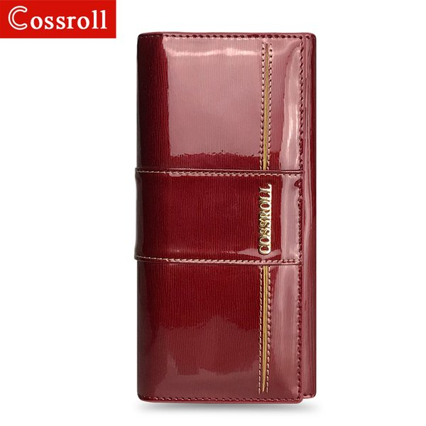Genuine Leather Female Wallet Cowhide Women's Wallets Long Brand Design High Capacity Clutch Purse Patent Leather Phone Bag