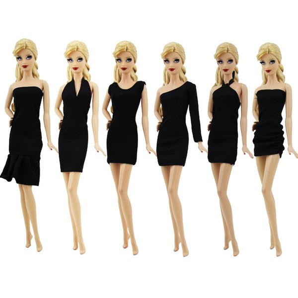 6 Sets Fashion Black Dress Evening Dinner Party Outfit Mixed Style Classic Princess Gown Clothes For Doll Accessories Toy