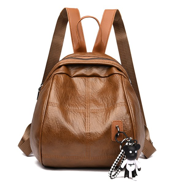 Women's mini travel backpack Fashion girl diagonal dual-use bear pendant female bag Casual PU leather backpack Student schoolbag