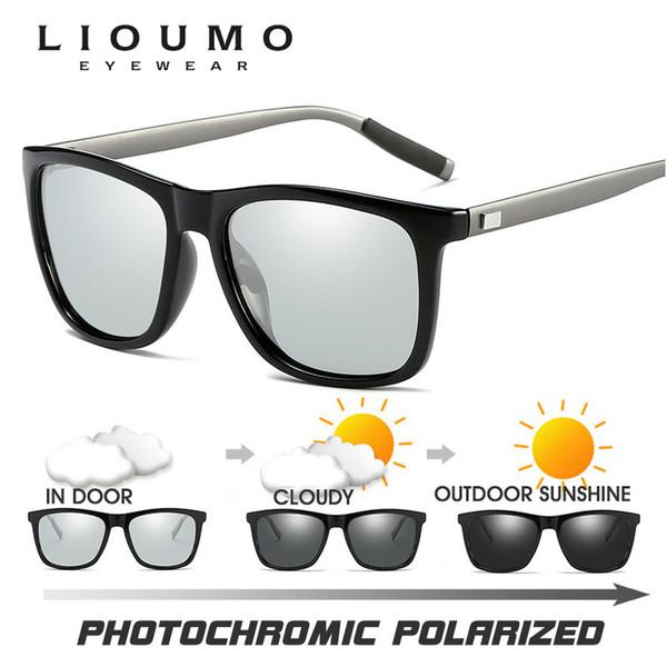 4b4bdd6b66b53 2018 Top Quality Quadrado de Camaleão Óculos De Sol Masculino Polarizada  Fotocromática Descoloração Óculos de Sol