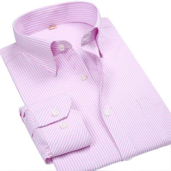 Wholesale- New Fashion Spring 2017 Classic Men Striped Dress Shirt Long Sleeve Turn-down Collar Regular-Fit Mens Shirts Designer Camisa