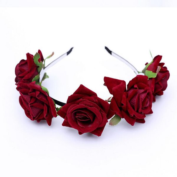 MOQ:5PCS Women and Children Headwear Big Cloth Rose Flowers Hairbands For Bride Wedding Headdress Free Size Party Decoration