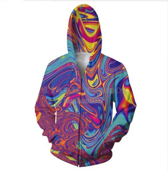 New Fashion Zipper Hoodie Oil Spill 3D Print Zip-Up Hoodies Psychedelic Sweatshirt Men/Women Harajuku Outfits Tops YY039