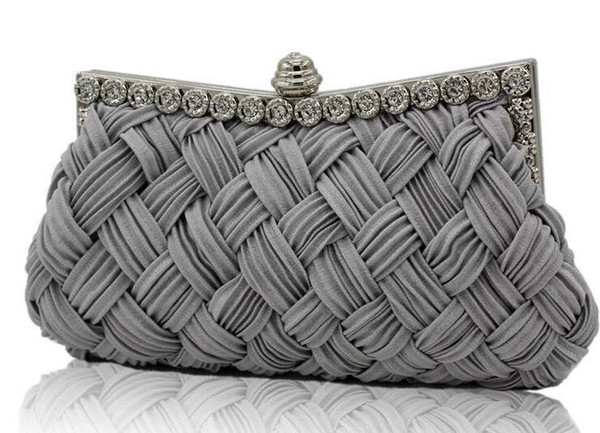 Woman evening bags for Women's Diamond Rhinestone Clutch Crystal Day Clutch Wallet Wedding Purse Party Banquet Hand Bags Black Silver