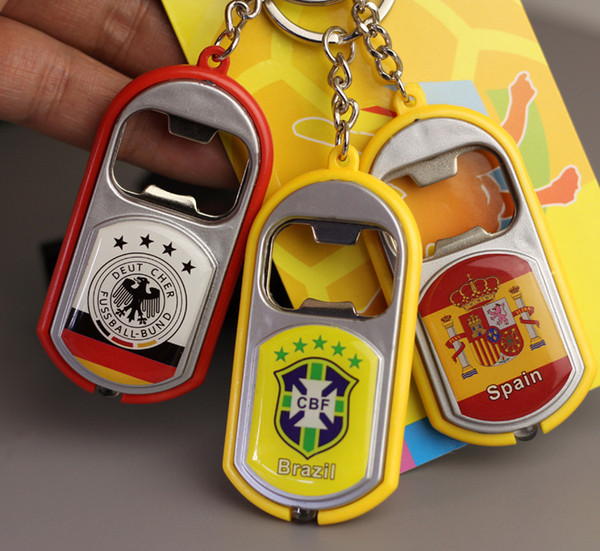 LED lamp opener, Russia World Cup national team key chain with Led lighter beer opener, bar supplies for football fan gifts