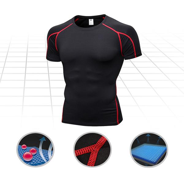 Mens Sportswear Quick Dry Fitness Apertado Compressão camisas Correndo T  camisas Dos Homens Sólidos de Manga 74bbf4d4ab7bd
