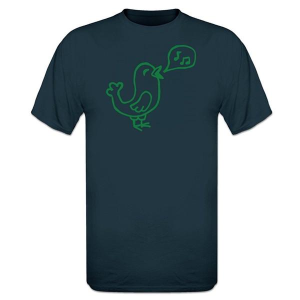 T Shirt Summer Cotton Pure Cotton Round Collar Crew Neck Men Design Short Sleeve Singing Bird T Shirts