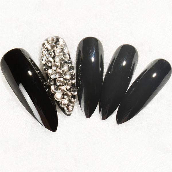 Nouvelle mode cristal extra-long Appuyez sur les ongles Bling Nail Art Faux Pointus faux ongles stiletto pleine couverture avec autocollant gratuit