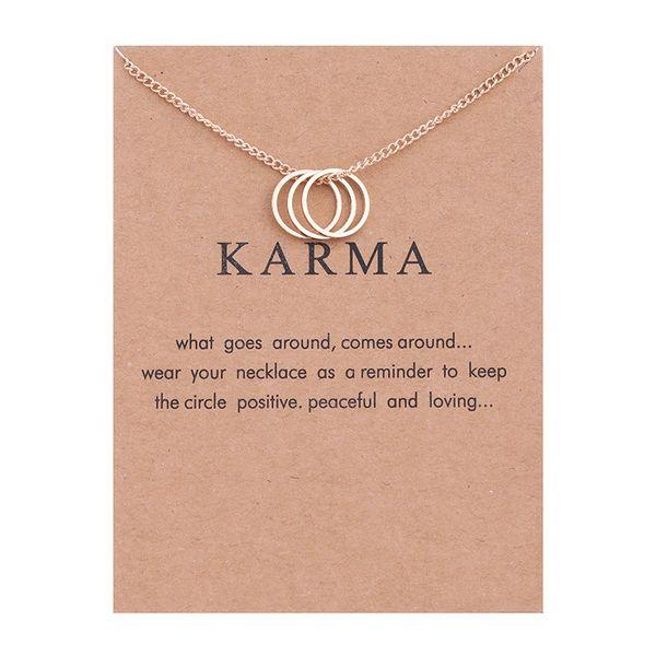 NO Dogeared LOGO Sparkling Karma oro-color Collar de tres círculos Declaración de Moda Collar de Cadenas de Clavícula Para Mujeres Joyería (Tiene tarjeta)