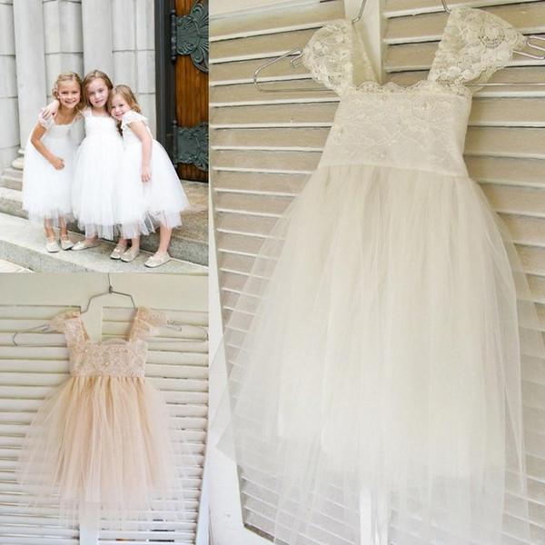 Cap Sleeve Lace Cute Girl's TUTU Flower Girl Dress Tea Length Hand Made Flowers Bows Kids Prom Birthday Dress Cheap