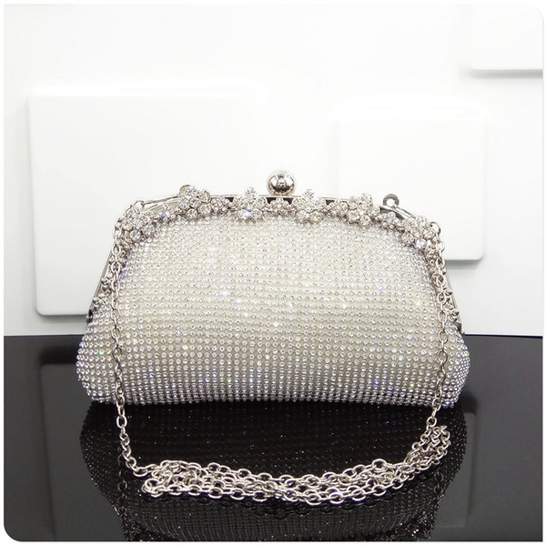 Flower Rhinestones Women Clutch Bags Diamonds Ladies Modern Black Gold Evening Bags Crystal Wedding Bridal Handbags Purse Bags Holder