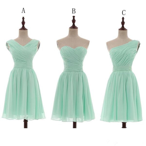 Compre Vestidos De Dama De Honor De Chifón Corto De Color Verde Menta Hasta La Rodilla Vestido De Dama De Honor De Boda 100 Cuadros Reales A 612
