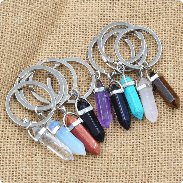 Vintage Silver Bullet Natural Stone Hexagonal Keychain Ring For Keys Car DIY Bag Key Chain Handbag Jewelry Accessories Free Shipping D614S