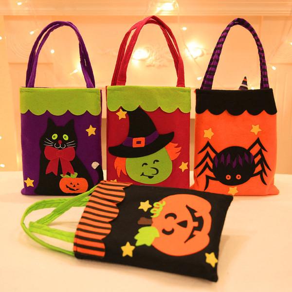 Decoraciones de Halloween 7 tipos de pegatinas de dibujos animados no tejidos patrón creativo de la historieta bolsas de mano Festival de fantasmas con regalo de la manzana galletas bolsas