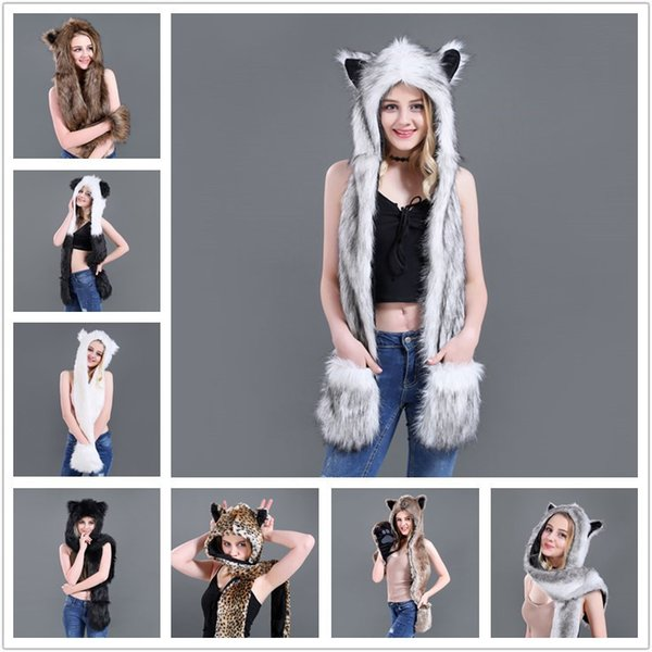 Women Faux Fur Hat Up Hood Animal Hat Wolf Plush Warm Animal Cap With Scarf Gloves Party Outdoor Scarf Mittens 13 styles MMA743