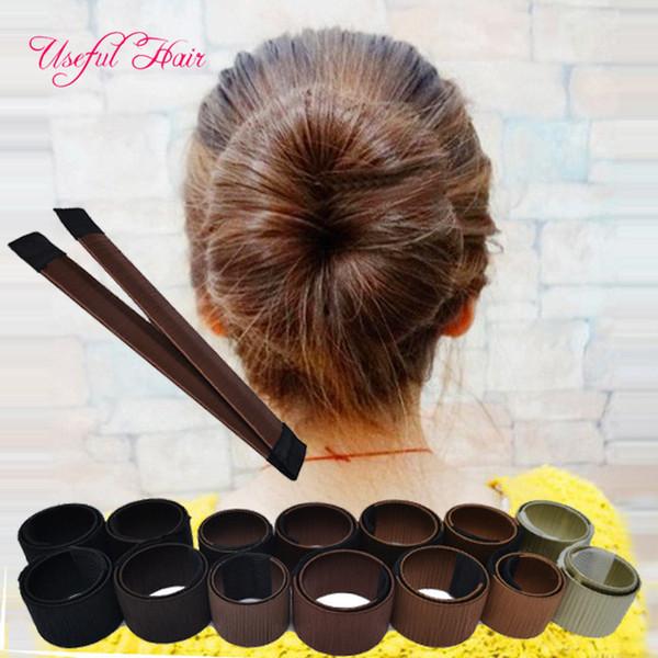 бесплатная доставка черный цвет кофе цвет волос галстуки девушка волос DIY укладка пончик бывший пены волос Луки французский твист магия инструменты булочка чайник