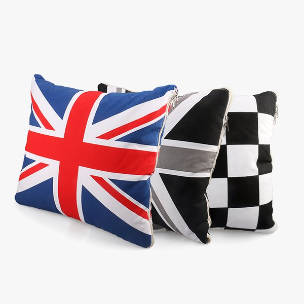 2 in 1 Union Jack Polyester Car Waist Cushion Blanket Pillows Air conditioning Quilt For Mini Cooper Countryman Car Styling