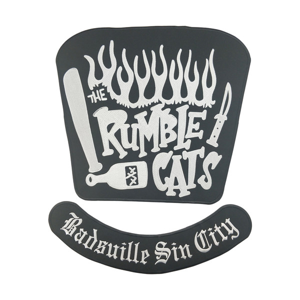 HOT SALE RUMBLE CATS MOTORCYCLE COOL LARGE BACK PATCH CLUB VESTOUTLAW BIKER MC PATCH FREE SHIPPING