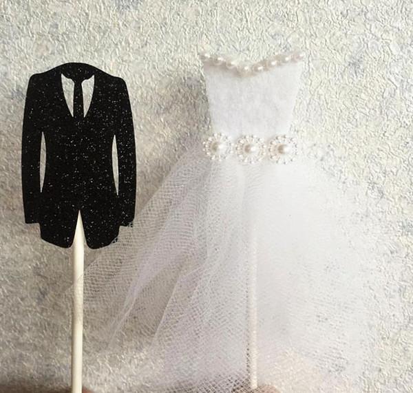 Romantic Bride Tuxedo & Groom Dress Wedding Cake Topper Anniversary Valentine's Day Engagement Cake Decor Supplies black white