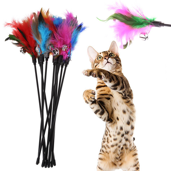 best selling New Colorful Cat Toys Kitten Pet Teaser Turkey Feather Interactive Stick Toy Wire Chaser Wand Toy