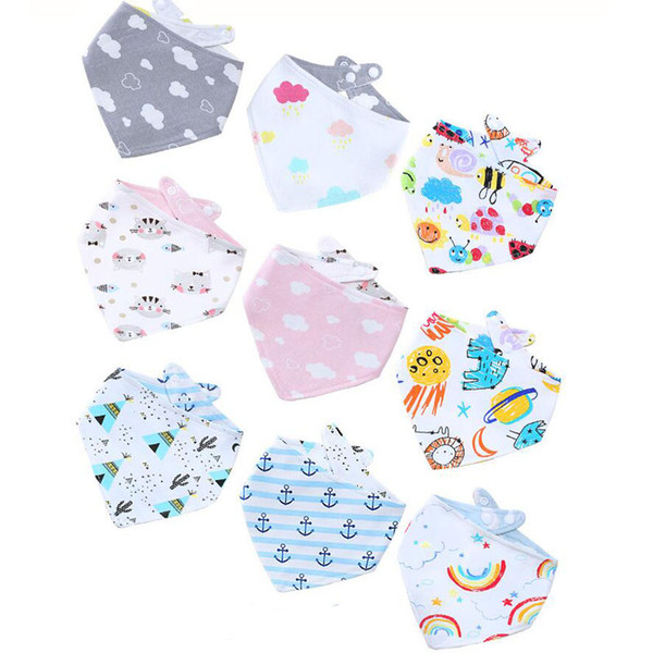2018 new designs baby cotton double sides used bandana bibs infant baby cute designs burp cloths wholesale DHL free shipping