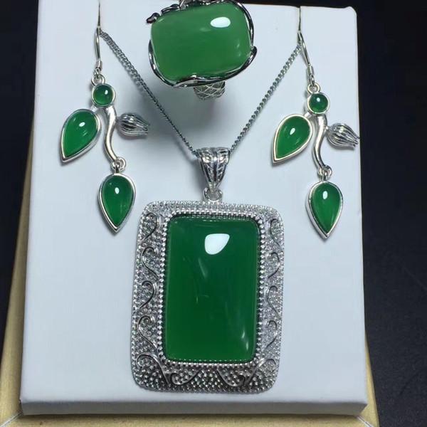 giz Natural definir s925 prata incrustada crisântemo carrilhão rei pingente brincos verdes tocar três conjuntos femininos