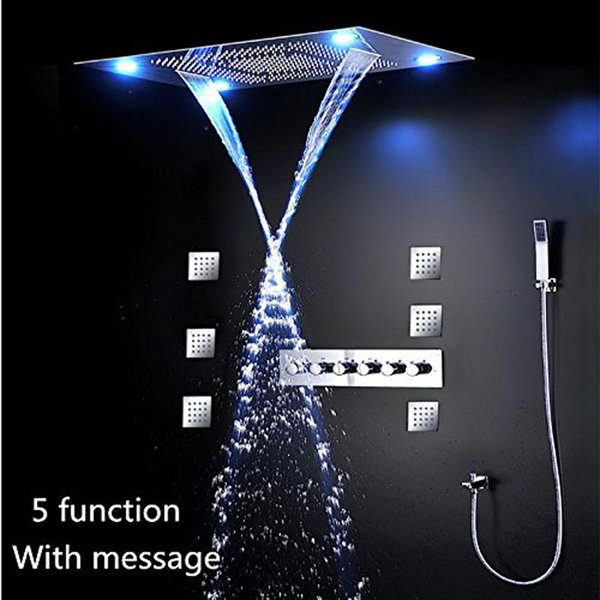 LED Shower Combo with 80x60cm with 4 Function Shower Head Brass Mixer Hand Shower Body Jets Ploished
