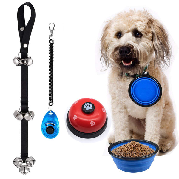 4 in 1 Dog Training Kit,Dog Door Bell Pet Cat Dog Collapsible Silicone Bowl Puppy dog Doorbells Training Clicker Kit,dog training bells for
