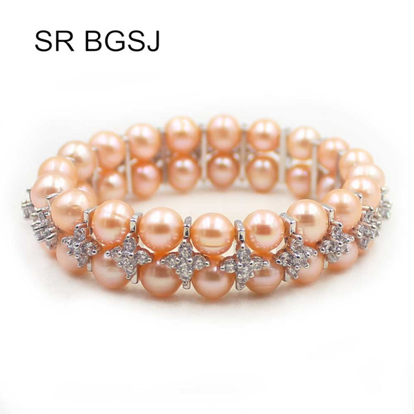 Free Shipping 7-8mm Nearly Round Freshwater Pearl Women 2-Strand Stretch Adjustable Pearl Bracelet 7