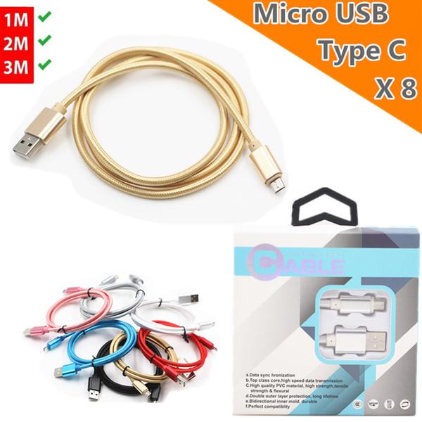 Micro / Type c Câble USB 2 / 3M 6/10 pieds Data Sync Chargement 2.1A Chargeur de téléphone pour Samsung S9 S8 S5 Note8 / HTC / LG avec le paquet de boîte