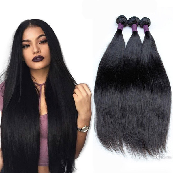 Long Straight Natural Looking Hair 3pcs Bundles Unprocessed Brazilian Human Hair Weaves Extension Natural Color 10-30 Longer Inch