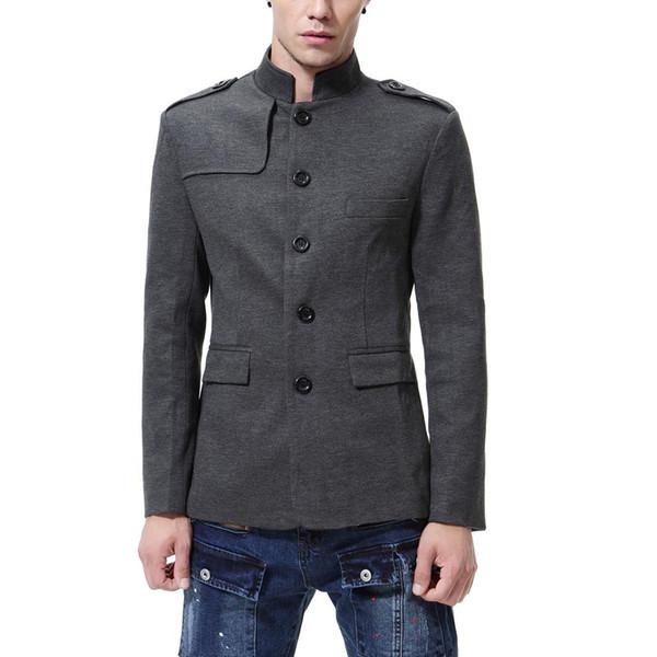Chinese Collar Black Suit Jacket Men Mandarin Collar Tunic Suit Jacket Mens Traditional Wedding Jacket Tang Suit for men Jackets J181140