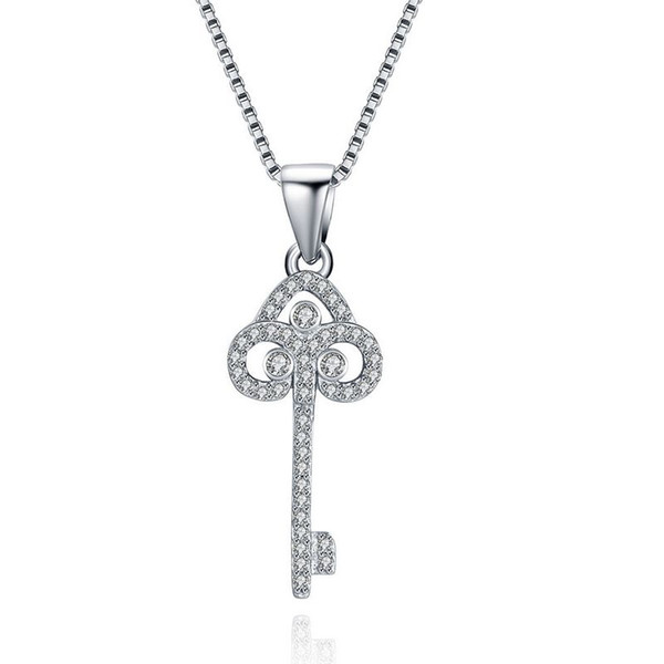 Sterling Silver 925 Necklace Lady Party Jewelry Pure Silver Key Pendant Necklace With Zircon Free Shipping n078