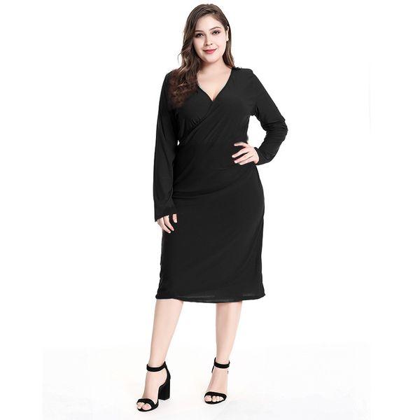 2018 Autumn Solid Plus Size Women Dress Big Size Red Black Elegant Work Office Dresses Large Size Women Clothing