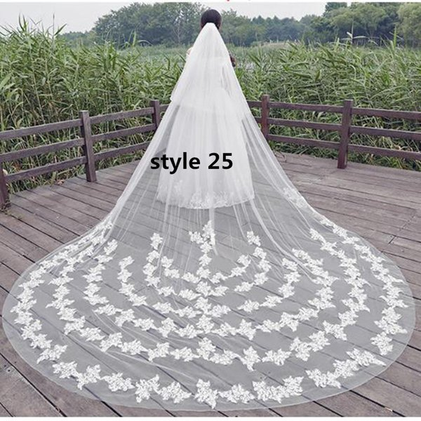 White Lace Wedding Veils 2018 Best Selling Cathedral Bridal Veils In Stock 380 CM Two Layers Wedding Accessories For Church/Beach Wedding