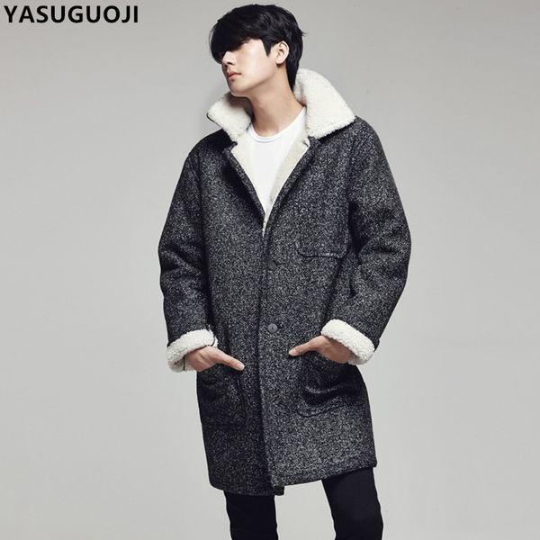 Umlegekragen Single Fleece Winter Breasted Dicke Mantel Yasuguoji Lange Mont Warme Mode Karel Jacke Ndy9 Wollen Großhandel Von Männer Erkek H2IEDW9